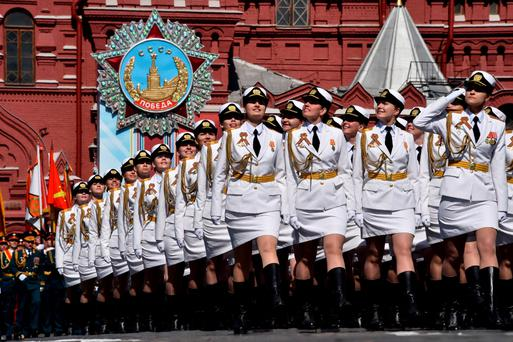 Russian servicewomen march at Red Square during the Victory Day military parade in Moscow