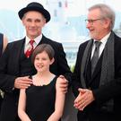 GIANT TIME: From left, Rebecca Hall, Mark Rylance, Ruby Barnhill and Steven Spielberg at the Cannes premiere of The BFG