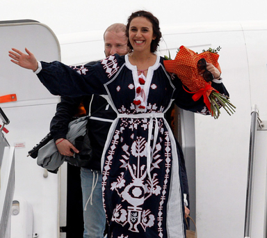 Jamala is given a hero's welcome as she arrives back home in Ukraine yesterday