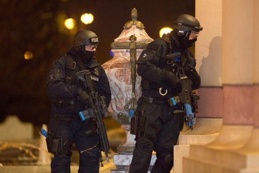 Armed police officers during an exercise at the Intu Trafford Centre in Trafford, Manchester, where police have joined forces with other agencies during a simulated terror attack to test the emergency response to a major incident