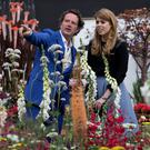Princess Beatrice (right) speaks with garden designer Diarmuid Gavin during a visit to the RHS Chelsea Flower Show, at the Royal Hospital Chelsea, London. Photo: PA