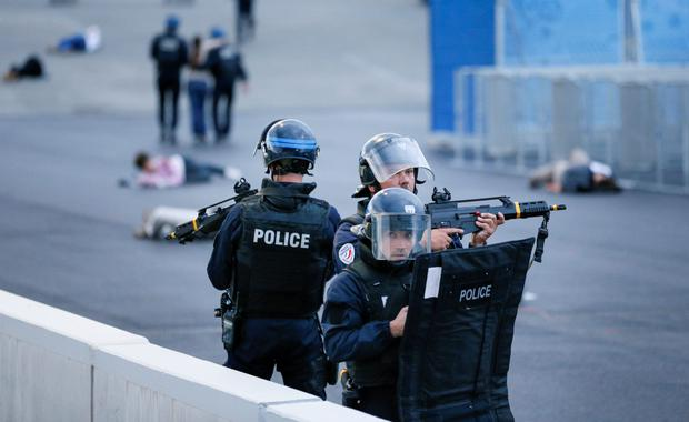 French police in a drill preparing for the Euros