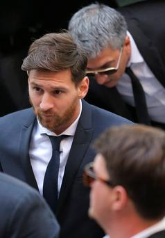 Lionel Messi appears at the court in Barcelona. Photo: AP