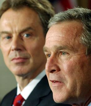 US President George W Bush and British Prime Minister Tony Blair at the White House in Washington, on January 31, 2003 Picture: AP