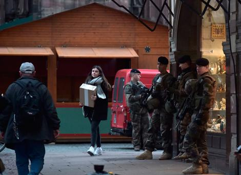 French soldiers patrol in Strasbourg's christmas market, eastern France.