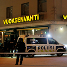 Police guard the area where three women were killed in a shooting incident outside of a restaurant in Imatra, Finland Photo: AP