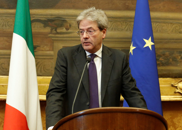 Italian Prime Minister-designate Paolo Gentiloni addresses the media at a meeting in Rome yesterday. Photo: Reuters