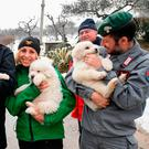 Rescuers hold three puppies that were found alive in the rubble of the avalanche-hit Hotel Rigopiano, near Farindola, central Italy, Monday, Jan. 22, 2017. Emergency crews digging into an avalanche-slammed hotel were cheered Monday by the discovery of three puppies who had survived for days under tons of snow, giving them new hope for the 23 people still missing in the disaster. (Alessandro Di Meo/ANSA via AP)