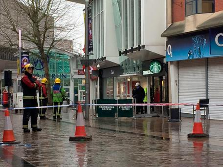 The scene in Wolverhampton city centre after a woman died when she was hit by a piece of roof. Photo: Matthew Cooper/PA
