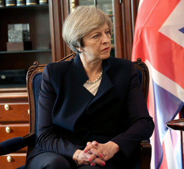 Prime Minister Theresa May on visit to Jordan yesterday