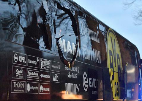 Dortmund's damaged team bus after the explosions. Photo: AP