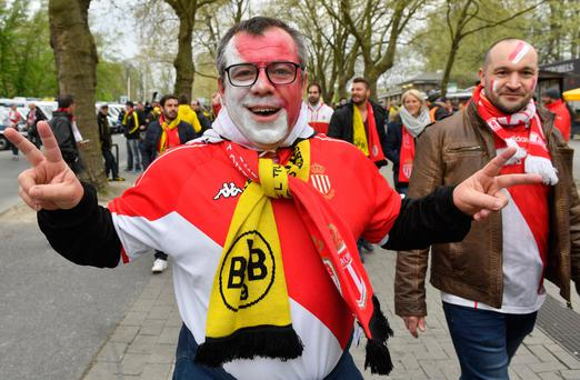A Monaco supporter before the Champions League first leg game between Borussia Dortmund and AS Monaco. Photo: AP