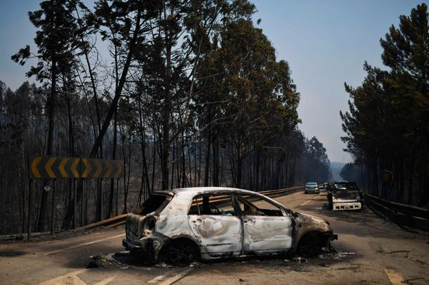 Burnt cars on a road after a wildfire in Figueiro dos Vinhos, Portugal, where dozens perished in their vehicles as they tried to escape. Photo: AFP/Getty