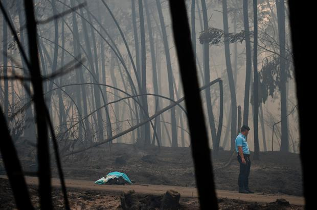 A policeman stands by a dead body of a victim of a wildfire in Pedrogao. AFP/Getty Images