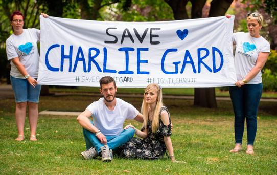 Charlie Gard's parents Connie Yates and Chris Gard delivered a petition with more than 350,000 signatures to Great Ormond Street Hospital in London to support their case. Photo: PA