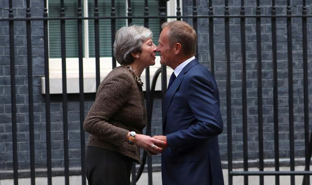 British prime minister Theresa May greets Donald Tusk, president of the European Council, at 10 Downing Street