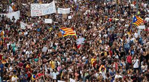 Demonstrations in Barcelona yesterday. Photo: Reuters