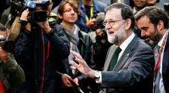 Spain's Prime Minister Mariano Rajoy arrives at a European Union leaders summit in Brussels. Picture: Reuters