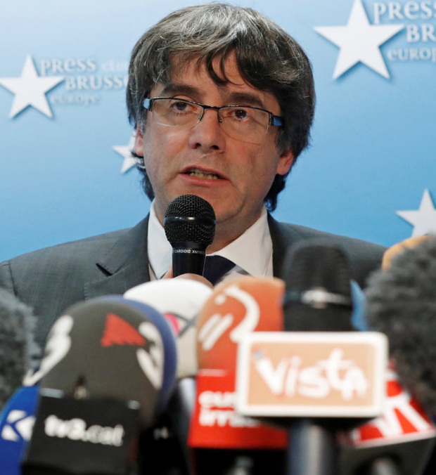 Ousted Catalan leader Carles Puigdemont speaking in Brussels: Photo: Reuters