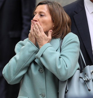 Carme Forcadell, Speaker of Catalan parliament, leaving Spain's Supreme Court. Photo: Reuters