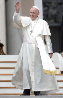 Pope Francis waves to crowds during this week's general audience in St Peter's Square. He has now admitted to a misjudgment over the Chilean abuse scandal. Photo: Reuters