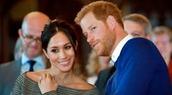 Britain's Prince Harry and his fiancée, American actress Meghan Markle, who are getting married at Windsor on Saturday. Photo: Getty Images