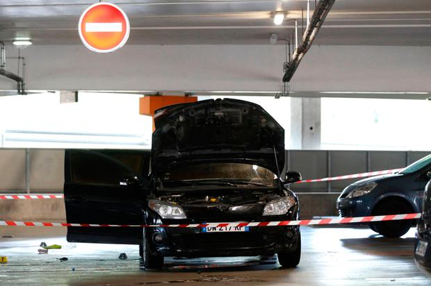 A car abandoned by Redoine Faid in a shopping mall in Aulnay-sous-Bois, north of Paris, after his escape in the helicopter. Photo: Getty