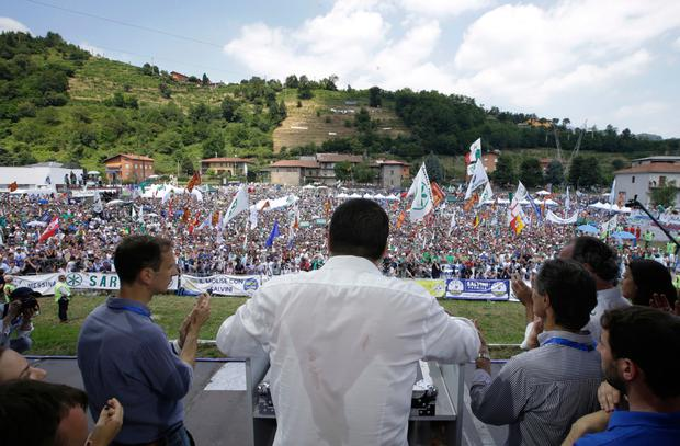 Interior Minister Matteo Salvini addresses a rally for his right-wing League party. Photo: AP