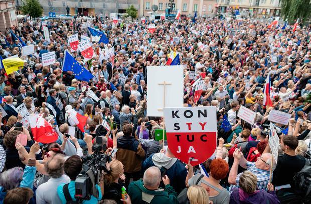 Thousands demonstrated outside Warsaw's Supreme Court. Photo: AFP/Getty Images