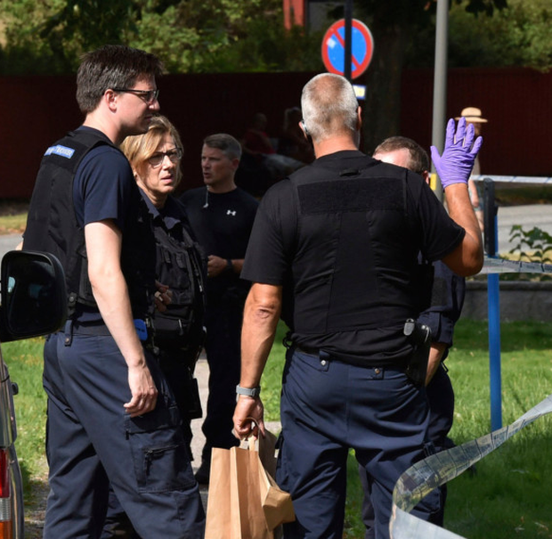 Police near the scene of the theft from a cathedral in Strangnas, Sweden. Photo: AP