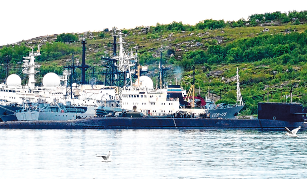 Nuclear-powered: An unidentified submarine in the city of Severomorsk, in Russia. Photo: Getty