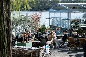 Business as usual: While the rest of Europe is in lockdown, people drink and eat at an outdoor restaurant in Stockholm
