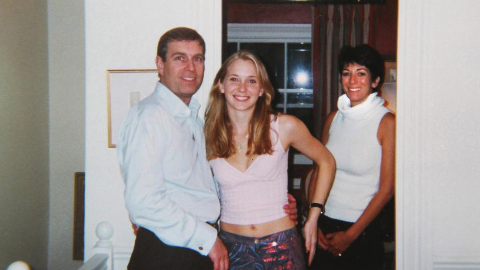 Prince Andrew with his accuser Virginia Giuffre, then aged 17, and Ghislaine Mawell (R)