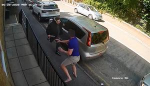 Handout CCTV image issued by Greater Manchester Police of Andrew Wadsworth attacking one of his neighbours. The former professional cage fighter has been jailed for a minimum of 32 years. Photo: Greater Manchester Police/PA Wire