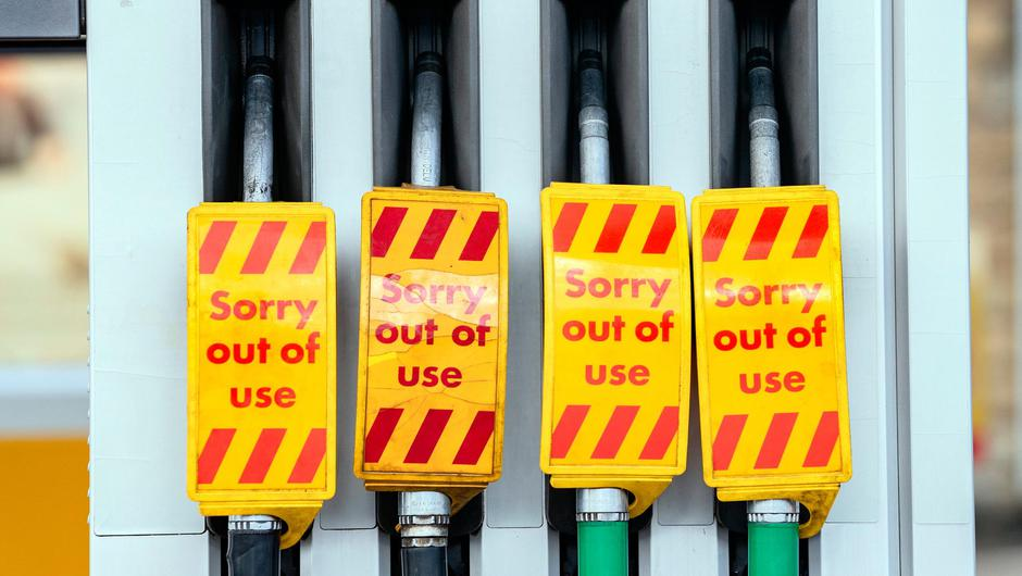 Fuel pumps out of use at a deserted petrol station forecourt in Bradley, West Yorkshire. Photo: Danny Lawson/PA Wire