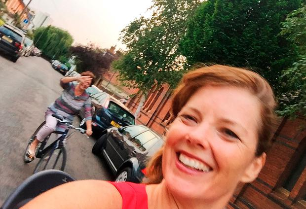 Carmen Greenway taking a selfie whilst cycling to a pub, on the day she fell off her bike and died six days later. Photo: PA