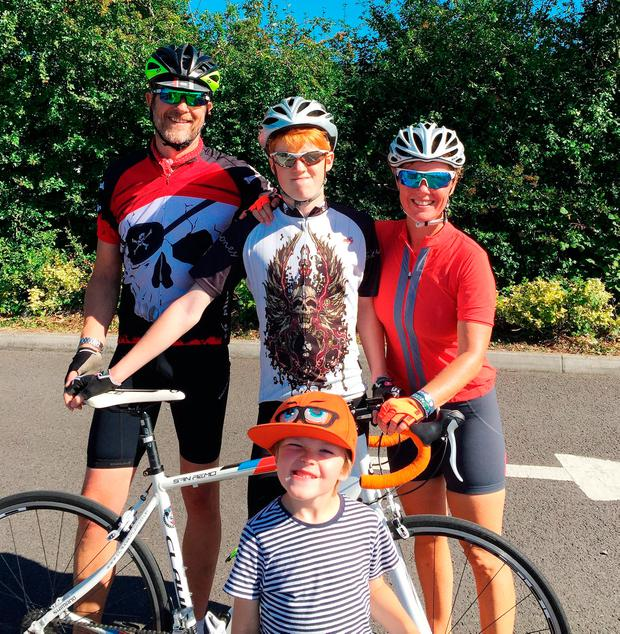 Greenway family (left to right) Rufus, Finlay, Carmen and Rafferty (front). Carmen, 41, died following a bicycle crash moments after she took a smiling selfie. Photo: PA