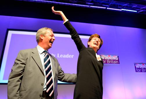File photo dated 16/09/2016 of Diane James celebrating with Nigel Farage after being named as the new leader of Ukip at the party's annual conference in Bournemouth, as she has now quit after just 18 days in charge, a senior party source has said. Photo: PA