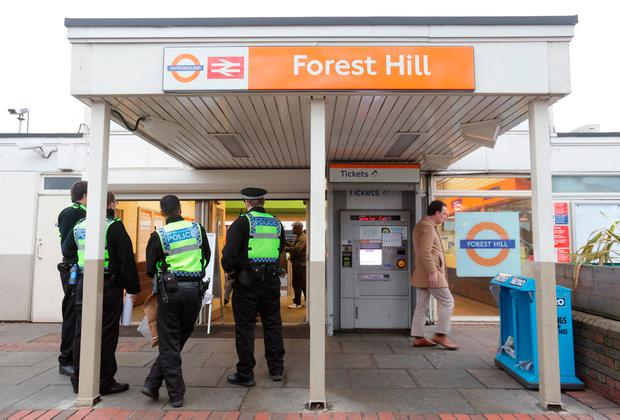 Police officers at Forest Hill train station, south-east London, after a man was arrested after reports of a stabbing incident at the railway station. Photo: Yui Mok/PA Wire