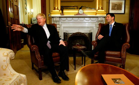 British Foreign Secretary Boris Johnson (L) meets with Speaker of the House Paul Ryan (R) in the U.S. Capitol in Washington January 9, 2017. REUTERS/Kevin Lamarque