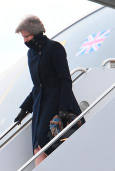 Prime Minister Theresa May arriving in Philadelphia ahead of her meeting with Donald Trump on Friday Photo: Stefan Rousseau/PA Wire