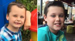 Matthew Stokes, five, and his older brother Adam, 11, were both found dead in their home in Hinckley in November Photo: JustGiving