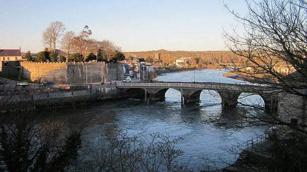 Emergency services at the scene in the River Teifi in Cardigan
