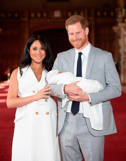 Prince Harry and Meghan with their baby son, Archie. Photo: PA