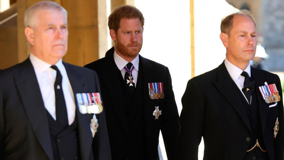 Prince Andrew, Duke of York, Prince Harry, Duke of Sussex and Prince Edward, Earl of Wessex during the funeral of Prince Philip, Duke of Edinburgh at Windsor Castle on April 17, 2021 in Windsor, England. (Photo by Chris Jackson/WPA Pool/Getty Images)