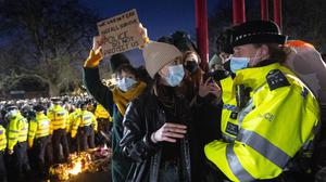 A crowd gathered at Clapham Common for a vigil for the late Sarah Everard last night. Photo: PA Media.