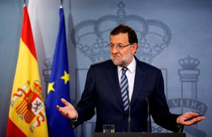 Spain's Prime Minister Mariano Rajoy gestures during a news conference at Moncloa palace in Madrid yesterday.