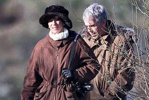 Ghislaine Maxwell and Jeffrey Epstein on a pheasant shoot with Prince Andrew in Norfolk, at the start of a weekend house party at Sandringham House in December, 2000