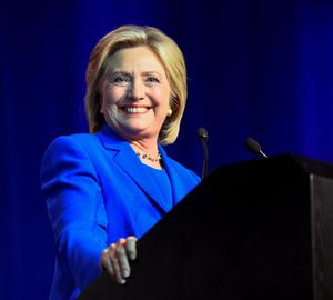 Democratic presidential candidate Hillary Clinton addresses the Democratic National Committee (DNC) Summer Meeting in Minneapolis, Minnesota,