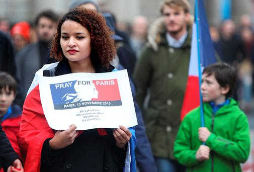 Juliette Charton from Paris pictured at the Solidarity with Paris march through Dublin city centre